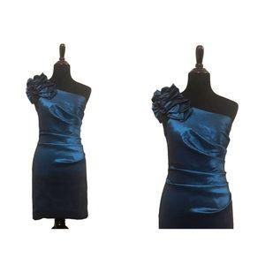Lenovia | Vintage Blue Off Shoulder Dress